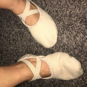 Well worn ballet ladies shoes flats